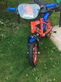 """Kids bike 12"""" Spider-Man excellent condition 3-5 years of age comes with stabiliser"""