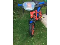 "Kids bike 12"" Spider-Man excellent condition 3-5 years of age comes with stabiliser"