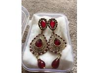 Elegant and Beautiful Diamante Red with White Crystal Drop/dangle earrings upon gold plate