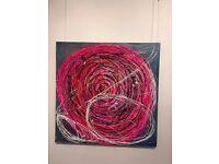 circle, collage, acrylic, 50cm x 60cm.
