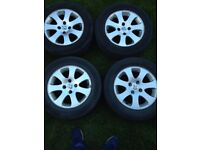 Peugeot alloys 4 stud fitment off 307 model 2 good tyres 2 need changing