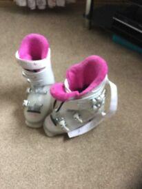 Girls ski boots-ski poles boys salopettesand fleeces