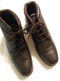 Boots, brown leather ankle style. NEW in original box