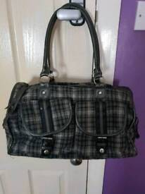 Grey tartan handbag