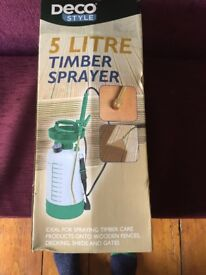 Timber sprayer with pressure gauge 5 litre Brand new in box, 3 year warranty receipt available
