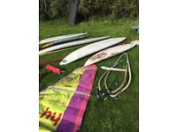 Collection of Windsurfer boards, sails, masts and booms