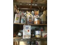 Various used and new varnish paint for wood