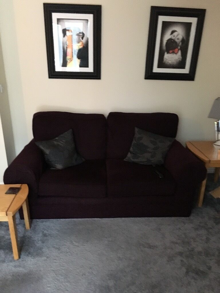 Good Condition Marks Spencer Sofa Chair Lovely Purple Chenille Material With Matching Arm Covers