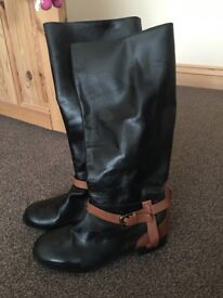 Ravel leather tan and black knee boots size 5