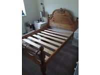 Heavy real pine double bed