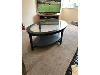 Ikea Black wood/Glass Coffee table