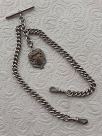 Vintage Solid Silver Double Prince Albert Pocket Watch Chain