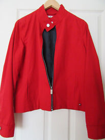TOMMY HILFIGER RED ZIPPED CASUAL LADIES JACKET SIZE MEDIUM – EXCELLENT CONDITION - £60 OVNO