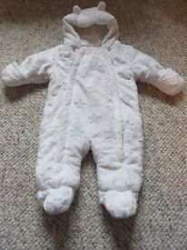 Snowsuit in White from George 3-6 months