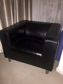 Black leather one seater armchair *IN GOOD CONDITION*