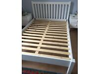 Double bed white wooden frame