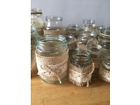 Collection Of 37 Hessian Vintage Glass Jars In Various Sizes