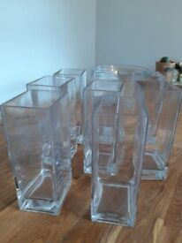 4x large glass bowls & 8x glass vases
