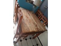 Wooden rush dining table and chairs , great condition