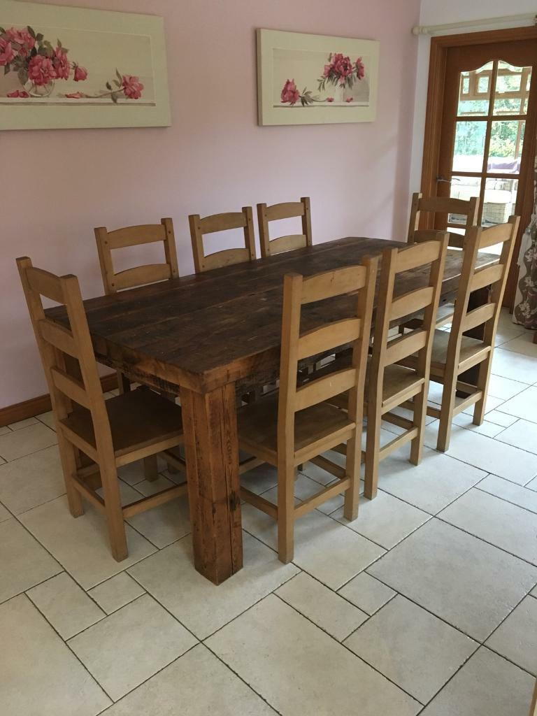 8 Seater Wooden table and chairs
