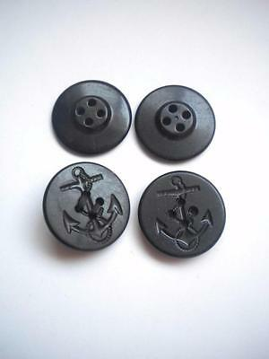 """Lot of 4 Vtg US Navy Military Uniform Pea Coat Anchor Buttons 1.25"""" 1 1/4"""