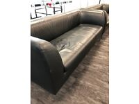 2 x Black Leather Sofas - Very good condition - Collection from Wimbledon