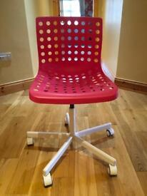 Chair for desk, desk lamp and waste paper bin