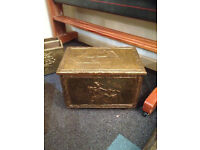 Nice Vintage Embossed Ornate Brass Wood Box / Pine Lined Coal Scuttle / Brass Log Box