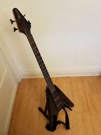 Wesley Flying V Black Bass Guitar