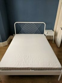 2 Months old IKEA Double bed with mattress and matching bedside table, immaculate condition - £80