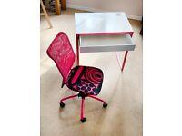 Micke Ikea Desk 73 w x 50 d x 75 height + Torbjorn Chair