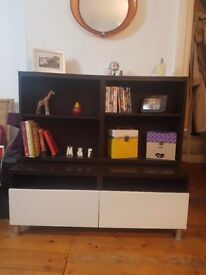 IKEA Dark brown shelving and white drawers - come as two separate units