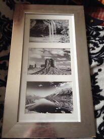 Silver triple aperture poster frame