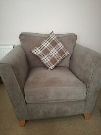Oak furniture land 3 person sofa, armchair and footstool - as good as new!