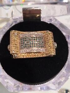 #1186 10-14K MENS DIAMOND CLUSTER SIZE 10 1/2 JUST BACK FOR APPRAISAL-$4,550.00 SELL $1595.00 FREE SHIPPING
