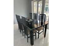 Dining table and chairs seats 6-8