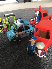 Postman pat van, talking helicopter, police car and train including all toy figures