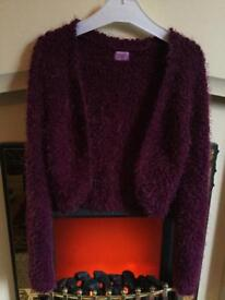 Girls fluffy shrug slip cardigan bolero age 9-10