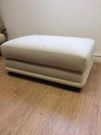 Large cream material stool 110x78cm