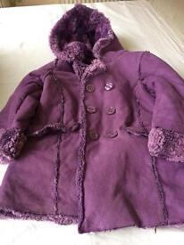 Purple sheepskin look coat