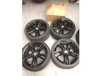 Immaculate genuine black 19 inch BMW staggered M sport alloy wheels and tyres