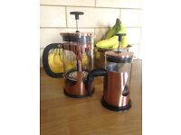 2 Cafetiere/French Press Coffee Makers - Copper Effect, One 800ml and One 360ml