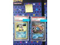 Rare holo Pokemon cards including EX LV X jumbo and PSA