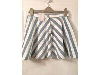 Size 14 denim striped skater skirt