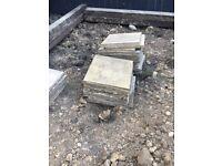 Buff paving slabs/ flagstones