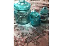 Set of 3 blue storage jars