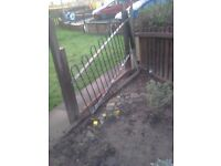 4x 4 ft by 8 ft panels wrought iron fencing with posts