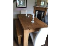 Chunky farmhouse Dinning table, 2 benches &2faux white leather chairs