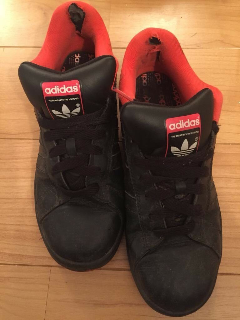 00ada2dd9b99 UK Size 9 Mens Used black and red Adidas originals trainers shoes red  bottoms leather