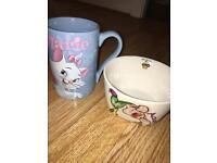 Disney mug and bowl